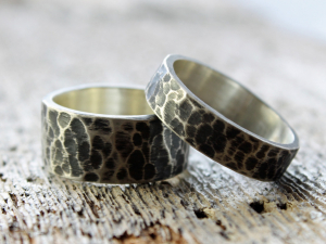 hammered and oxidized wide sterling silver wedding band set