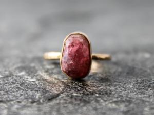 raspberry red tourmaline ring w/ 14K gold