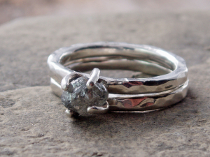 rough and raw diamond and sterling silver engagement ring and wedding band set