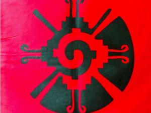 "Red Hunab Ku Galactic Butterfly Altar Cloth Mesa Cloth Bandana Cotton 22"""