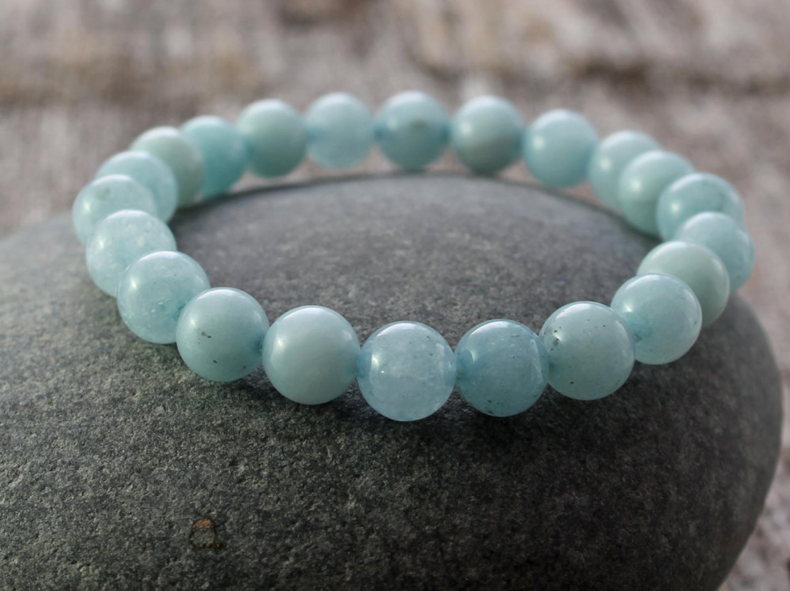 Aquamarine Stretch Bracelet Spiral River Jewelry