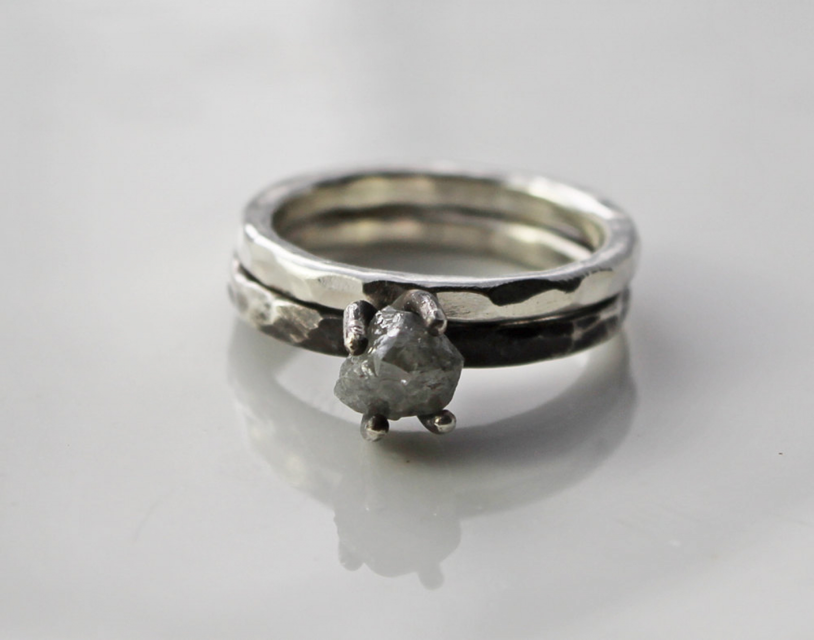 silver engagement wedding rings oxidized feathers oxidation shop