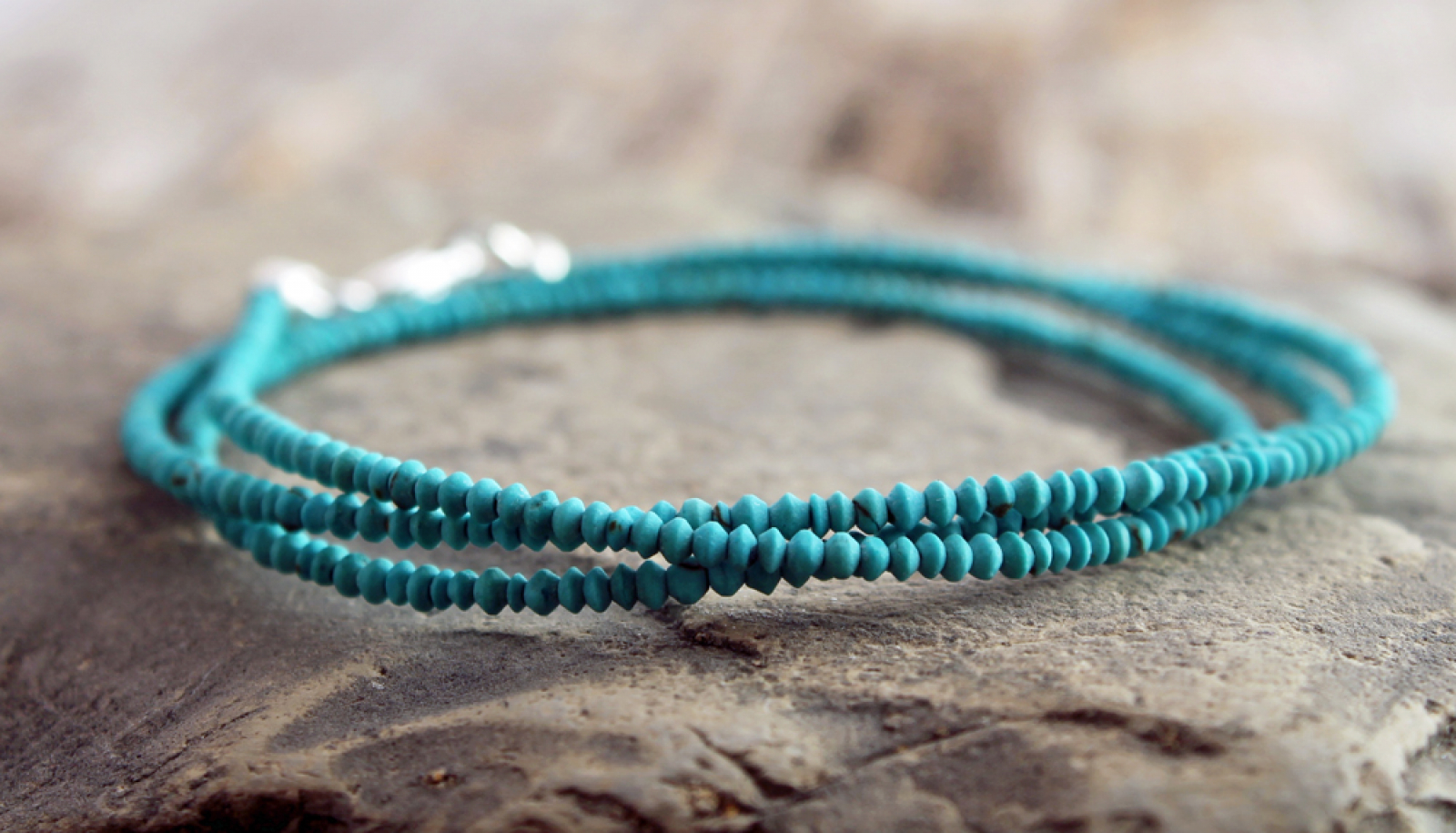 Matte Turquoise Wrap Bracelet Tiny Natural Or Necklace
