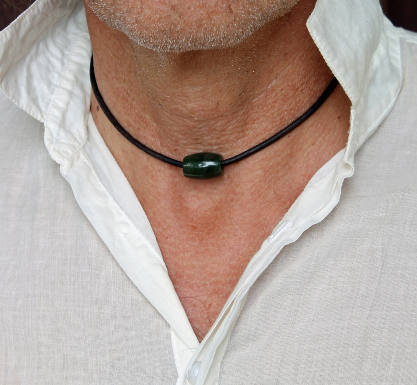 Mens Nephrite Jade Necklace Spiral River Jewelry
