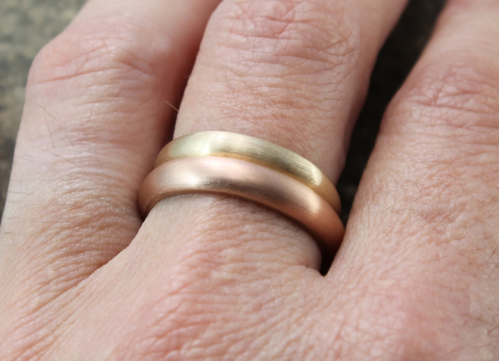 custom artisan 14k rose gold wedding band with recycled gold ...
