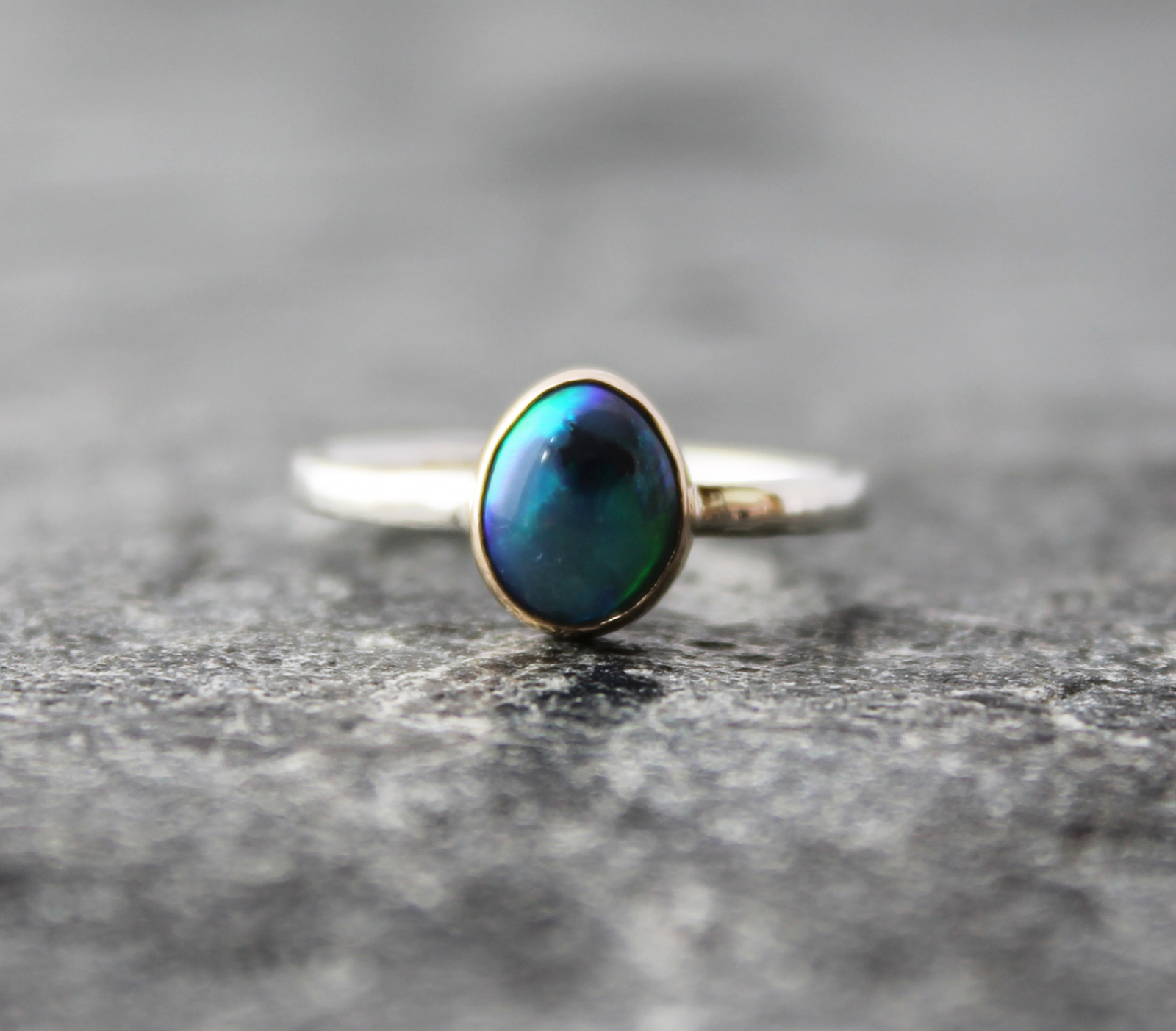 35eb65a3508d0 Australian Lightning Ridge black opal ring w/ 14k yellow gold & hammered  sterling silver band, US Size 6