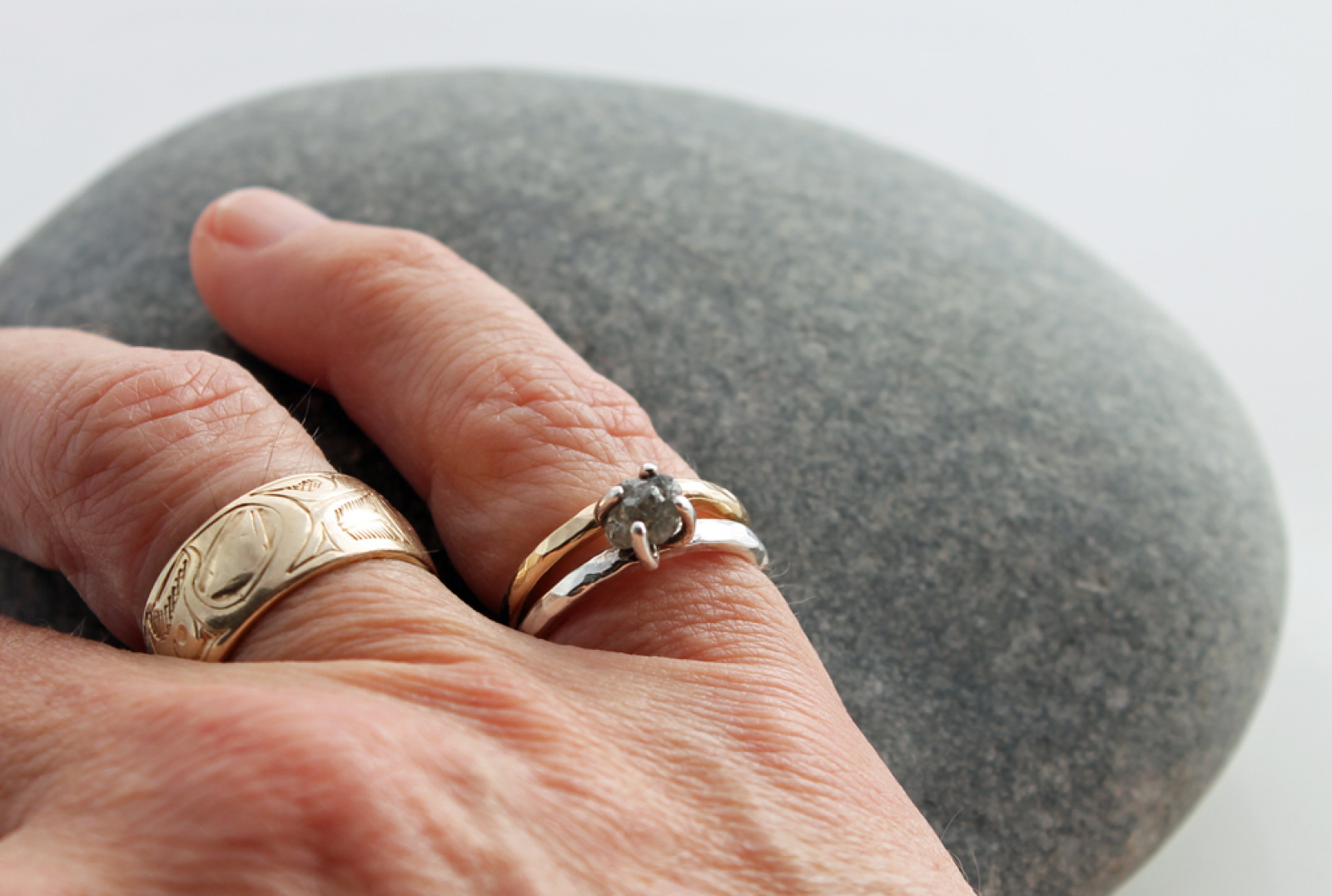 Raw Diamond Engagement Ring Wedding Band Set W/ 14k Gold