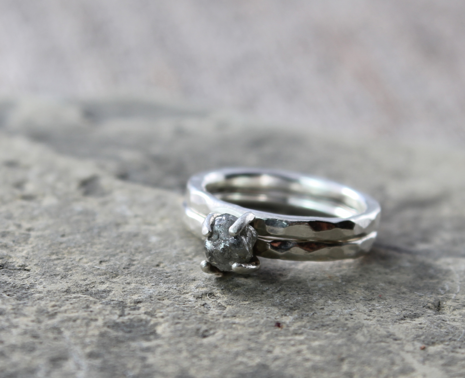 ring raw sterling set jewelry engagement rings hammered river band spiral product wedding diamond and rough silver