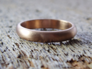 artisan 14k rose gold wedding band with recycled gold - made to order with personal blessing