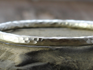chunky artisan hammered sterling silver bangle, made to order