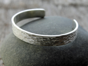 mens hammered sterling silver cuff - made to order