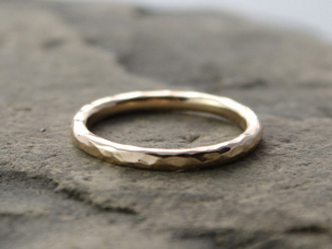 hammered 14k gold wedding band, custom sizes