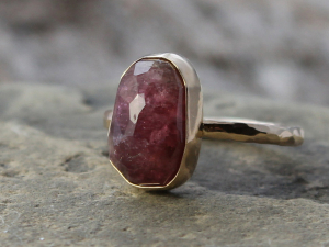 red tourmaline & 14k gold engagement ring, size 6