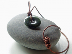 nephrite jade donut pendant on leather cord - men's jade necklace with pi bead - 30mm