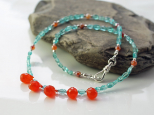 carnelian briolette and apatite statement necklace with sterling silver