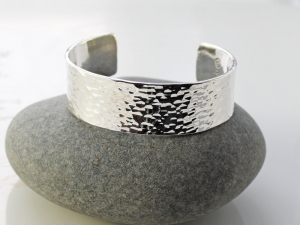 mens thick and wide hammered sterling silver cuff - made to order