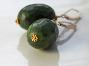 faceted Canadian nephrite jade earrings with 18k gold rondelles and 14k gold earwires