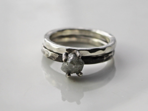 rustic raw diamond engagement ring and wedding band set in sterling silver with oxidized silver