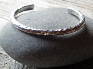 mens bold and elegant artisan hammered sterling silver cuff bracelet - made to order