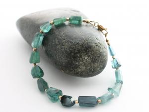 rare blue indicolite tourmaline and gold bracelet