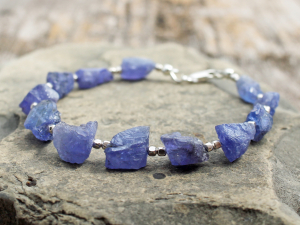 raw tanzanite bracelet with sterling silver, custom sizes