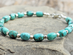 boho turquoise and sterling silver bracelet, custom sizes