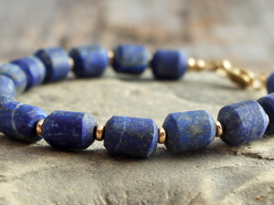 hand cut matte lapis lazuli bracelet with lapis drum beads and gold filled or sterling silver accents