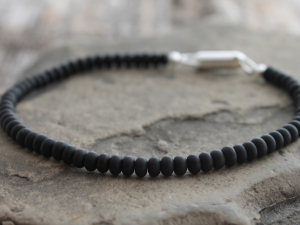 mens zen matte onyx bracelet with sterling silver