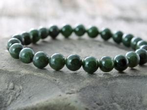 mens nephrite jade stretch bracelet - rich green nephrite jade bracelet - made to order