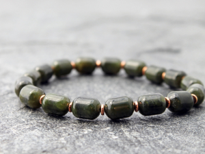 mens nephrite jade drum bead stretch bracelet with copper