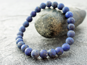 mens matte lapis lazuli stretch bracelet with 8mm round beads