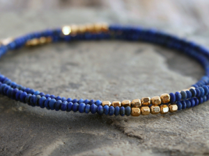 delicate matte lapis lazuli and gold accent bracelet and necklace - made to order