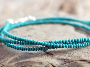 matte turquoise wrap bracelet - tiny natural turquoise bracelet or necklace