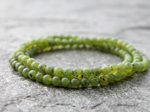Canadian nephrite jade wrap bracelet or necklace with 4mm round nephrite
