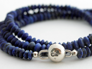 matte lapis lazuli and silver wrap bracelet or necklace, made to order, custom sizes