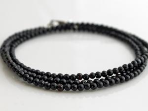 black tourmaline wrap bracelet with sterling silver, custom sizes