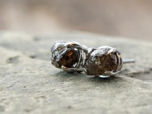 custom raw diamond and gold stud earrings
