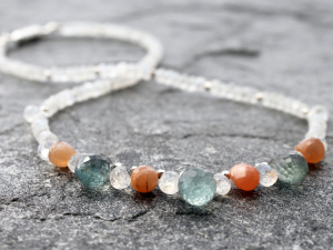 moss aquamarine, carnelian, moonstone and sterling silver designer necklace