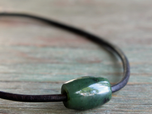 mens nephite jade choker necklace with brown leather cord
