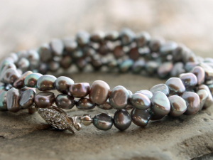 silver freshwater pearl 3-wrap bracelet with sterling silver clasp