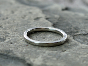 artisan hammered 14k palladium white gold wedding band or stacking ring with recycled gold