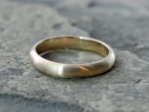 bespoke 14k yellow gold wedding band with matte/brushed finish