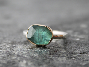 indicolite blue tourmaline ring w/ hammered sterling silver band & 14k yellow gold