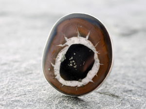 custom septarian ring with sterling silver