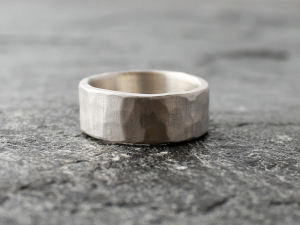 palladium sterling silver hammered wedding band for men and women