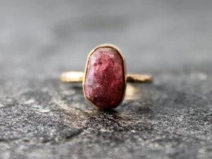 raspberry red tourmaline & 14k gold engagement ring, size 6