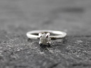 1 carat raw Canadian diamond engagement ring