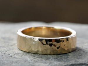 rustic mens wide artisan hammered 14k gold wedding band - made to order
