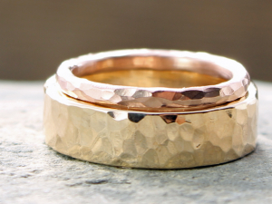 his & hers custom artisan hammered rustic wedding bands in 14k yellow and rose gold
