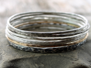 a beautiful stack of bangles, 6 hammered brushed & oxidized bracelets in 14k gold & sterling silver, made to order